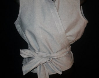 Vintage 90's DKNY Sleeveless Wrap Around Top Sz 6