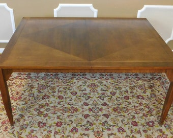 1960s Baker Furniture Contemporary Walnut Parsons Style Dining Room Table w/ 2 Leaves