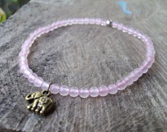 Elephant anklets,Rose quartz anklets,Stone anklets