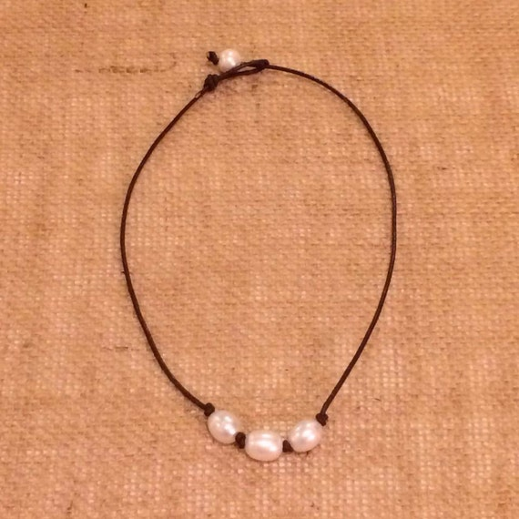 The Katherine - Freshwater Pearl and Leather Necklace - Available in 4 lengths
