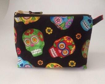 Black Sugar skull handmade fabric cosmetic  bag, pouch, purse for toiletries, makeup