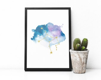 Printable Virgo constellation art Zodiac Virgo poster, Watercolor and gold wall print, Astrology print, Blue, Purple,