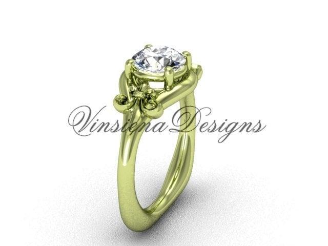14kt yellow gold fleur de lis engagement ring forever
