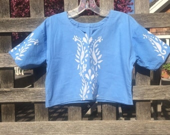 Light Blue India-inspired Crop Top