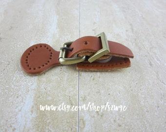 Brown Leather Belt Buckle Bag Purse Closure