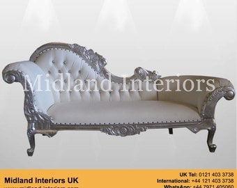 NEW Paris Chaise Longue Sofa - Silver & white leather