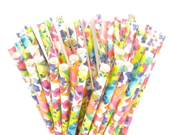 Watercolor Paper Straws Wedding Birthday Bridal Shower Bachelorette Party