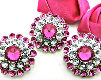 Hot Pink Rhinestone Buttons Hot Pink & Clear Acrylic Rhinestone Buttons Rhinestone Buttons Coat Buttons Fashion Buttons 24mm 3190 24 2R