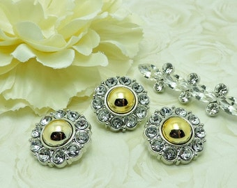Gold Pearl w/ Clear Surrounding Acrylic Rhinestone Buttons Coat Buttons Fashion Garment Buttons Bridal Buttons  25mm 2997 01P 3 3 6R