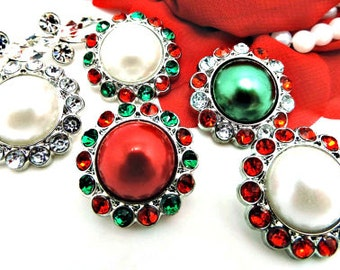 Christmas Red & Green Pearl Rhinestone Button W/ Surrounding Acrylic Rhinestones Embellishments Garment Wedding Coat Buttons  26mm 3185