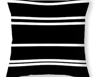 Throw Pillows-Black and White Striped  (Pillow Insert Included)