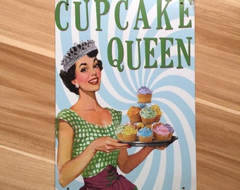 Cupcake Queen Vintage Tin Sign
