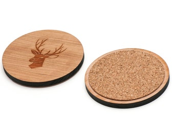 Trophy Buck Wooden Coasters Set of 4, Gifts For Him, Wedding Gifts, Groomsman Gifts, and Personalized