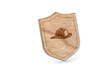 Fire Helmet Lapel Pin, Wooden Pin, Wooden Lapel, Gift For Him or Her, Wedding Gifts, Groomsman Gifts, and Personalized