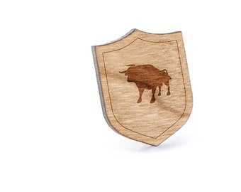 Bull Lapel Pin, Wooden Pin, Wooden Lapel, Gift For Him or Her, Wedding Gifts, Groomsman Gifts, and Personalized