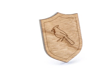 Cardinal Lapel Pin, Wooden Pin, Wooden Lapel, Gift For Him or Her, Wedding Gifts, Groomsman Gifts, and Personalized
