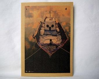 Boat in Greek Dock Card   Birthday Card   Thank you Card