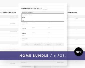 Home Information Bundle - 8.5 x 11 Letter Size - 6 Pages - Printable PDF - Instant Digital Download - Minimalist Modern - Black and White