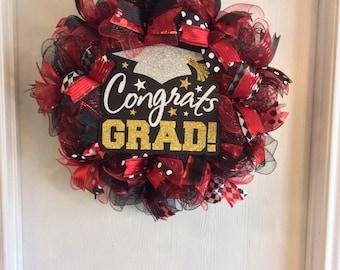 Graduation Wreath-Class of 2017 Wreath-Graduation Deco Mesh Wreath