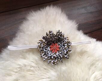Little leopard print flower headbands