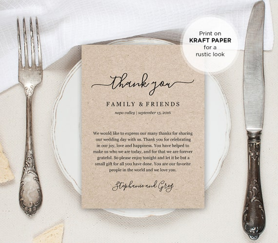 Thank You Letter For Wedding Gift: Wedding Thank You Letter Thank You Note Printable Wedding In
