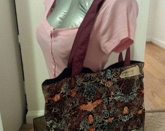Large Bat and Spider Tote Bag Purse