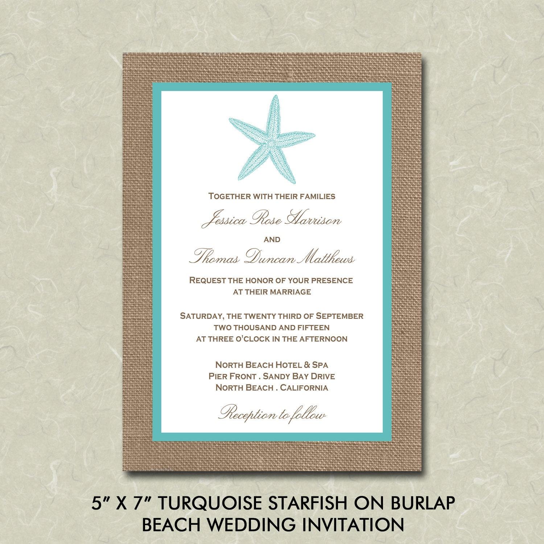 Decorative Wedding Invitation Badge 7: 5 X 7 Turquoise Starfish On Burlap Beach Wedding Invitation