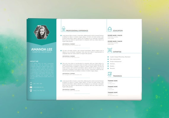Modern Resume Template & Cover Letter + Icon Set for Microsoft Word | 3  Page Pack | Professional CV | Instant Download | Horizontal Resume