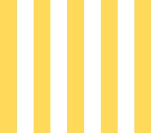 """Riley Blake 1"""" Wide Stripes, White and Yellow, fabric by the yard"""
