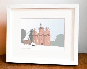 Craigievar Castle Illustration, Castle art, Scottish Castles, Scottish Gift, Scottish Keepsake, Castle, Scotland, Aberdeen, Aberdeenshire