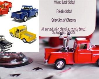 Rockabilly Retro Table Menu Holder - Vintage 50s Style Pickup Truck - Diecast Scale Model