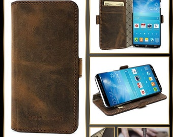 Bouletta Leather-Wallet Case Cover Samsung Galaxy S6-Antic Coffee