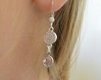 Sterling Silver & Crystal Drop Earrings, SE-109
