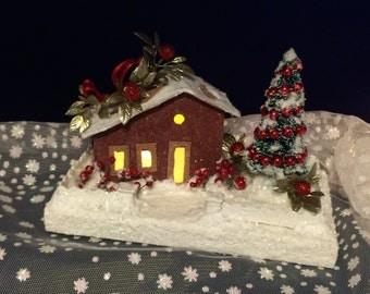 Little Brick Red and Brown Putz House Glitter House Christmas Village