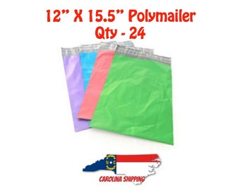 """Colorful Polymailer, 24 Polymailers, Poly Mailer, Mailer, 12"""" X 15.5"""" Polymailer, Self seal strip, Colors, Polymailer"""