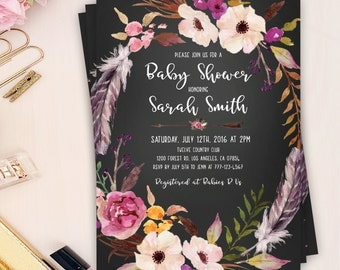 floral peony invitation, floral baby shower invitation, printed boho baby shower invite, floral baby shower invitation, bohemian invitation