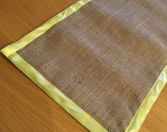 Yellow Satin Ribbon Edged Hessian Table Runner, 35cm Wide, great for the Easter table.