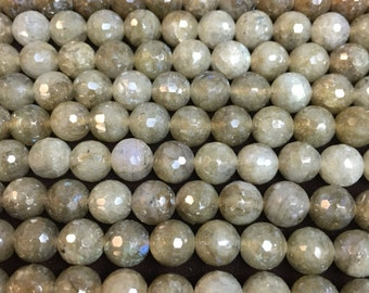 8MM faceted beads labradorite
