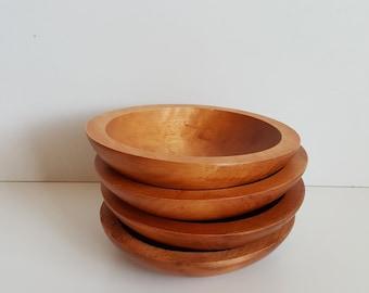 Vintage Set of 4 Baribocraft Maple Salad Bowls, Made in Canada, Baribocraft