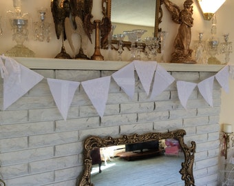 All White Lace Applique! Flag Banner. FREE SHIPPING!
