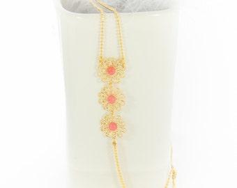 Headband Eden,  jewel of head, hair, hairstyle, gilt fine gold, blue, pink, white, flower