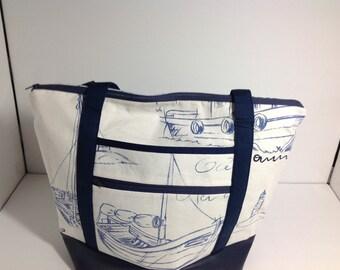 Large Tote Bag, Diaper Bag, Beach Bag, Nautical, Ships