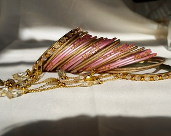 Pink and Gold Indian Bangles