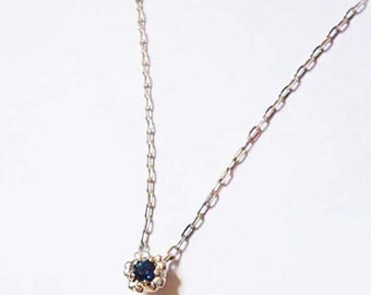 necklace blue Sapphire, small flower , 925 silver stealing, gift for her,present for birthday