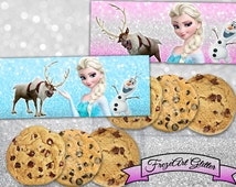 Frozen Elsa bag toppers Candy bag toppers Printable digital bag toppers on Printable sheet for Frozen Birthday decoration