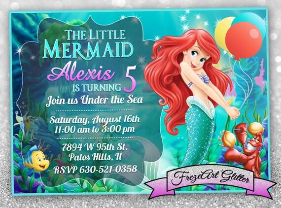 Little mermaid Birthday invitation card invite Mermaid Ariel