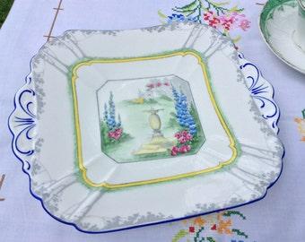 Shelley Queen Anne Cake Plate, Garden Sundial Design pattern 11607, circa 1928, bone china cake plate