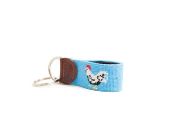 Meanwhile Back on the Farm Rooster Needlepoint Key Fob