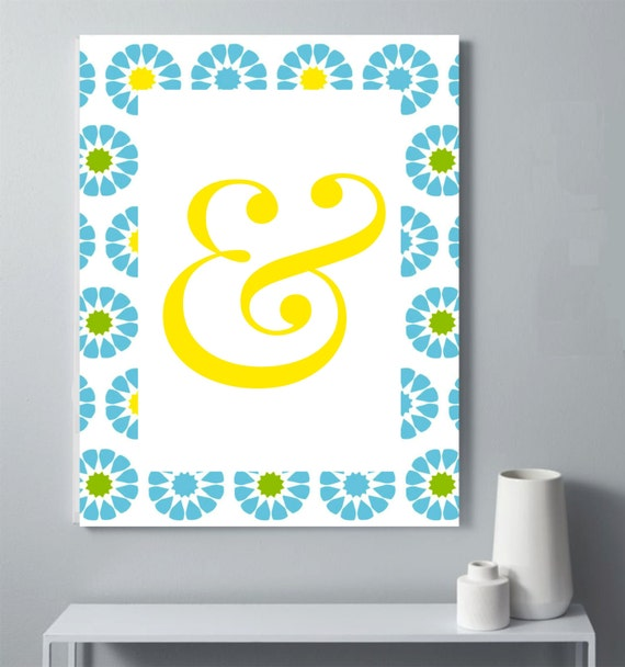 Black Ampersand Wall Decor : Ampersand and flowers poster teen wall decor art