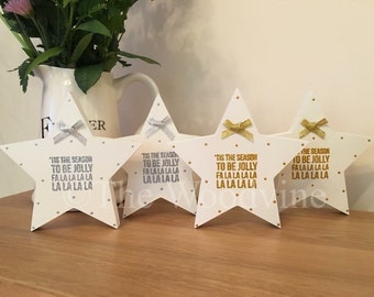 15cm Christmas Quote Star, Xmas Decoration